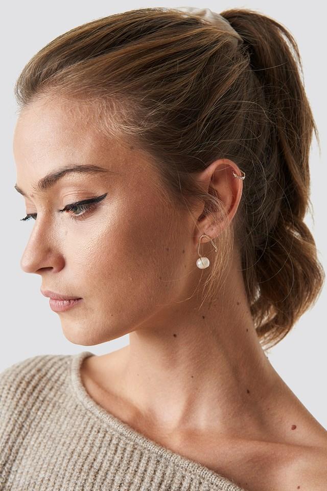 Pearl Hoop Earring Gold