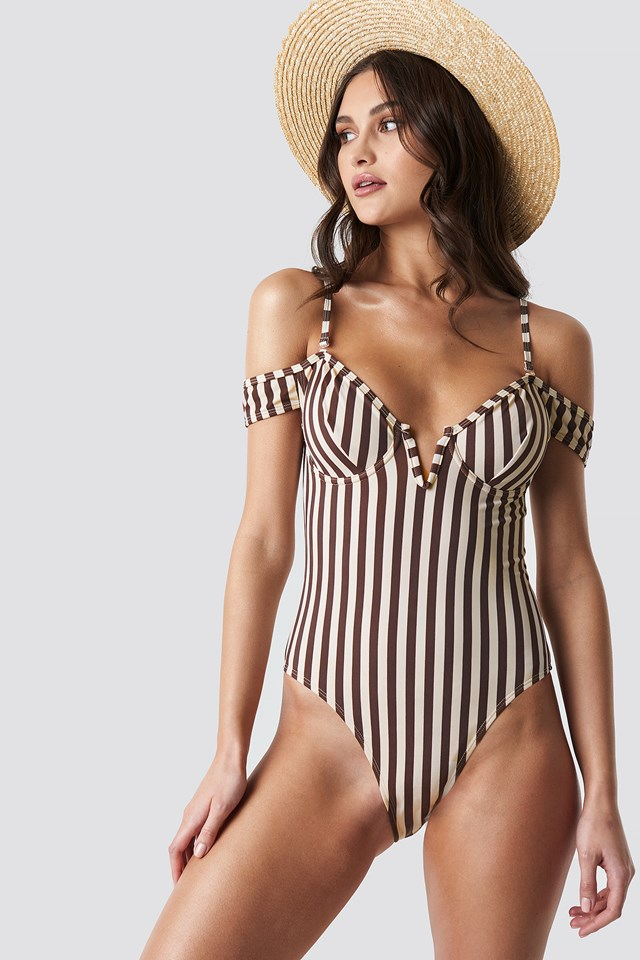Slip Shoulder Swimsuit Stripe
