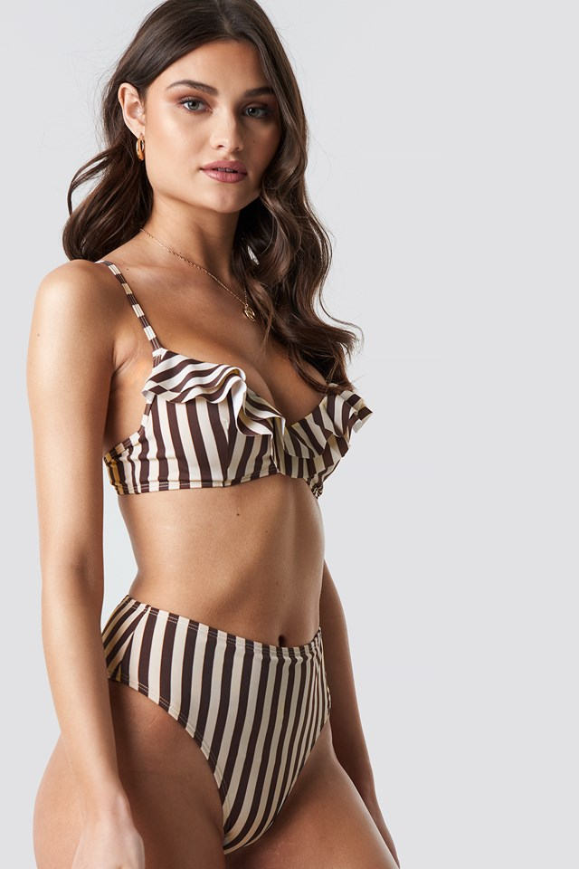 Striped High Waist Bikini Bottom Stripe