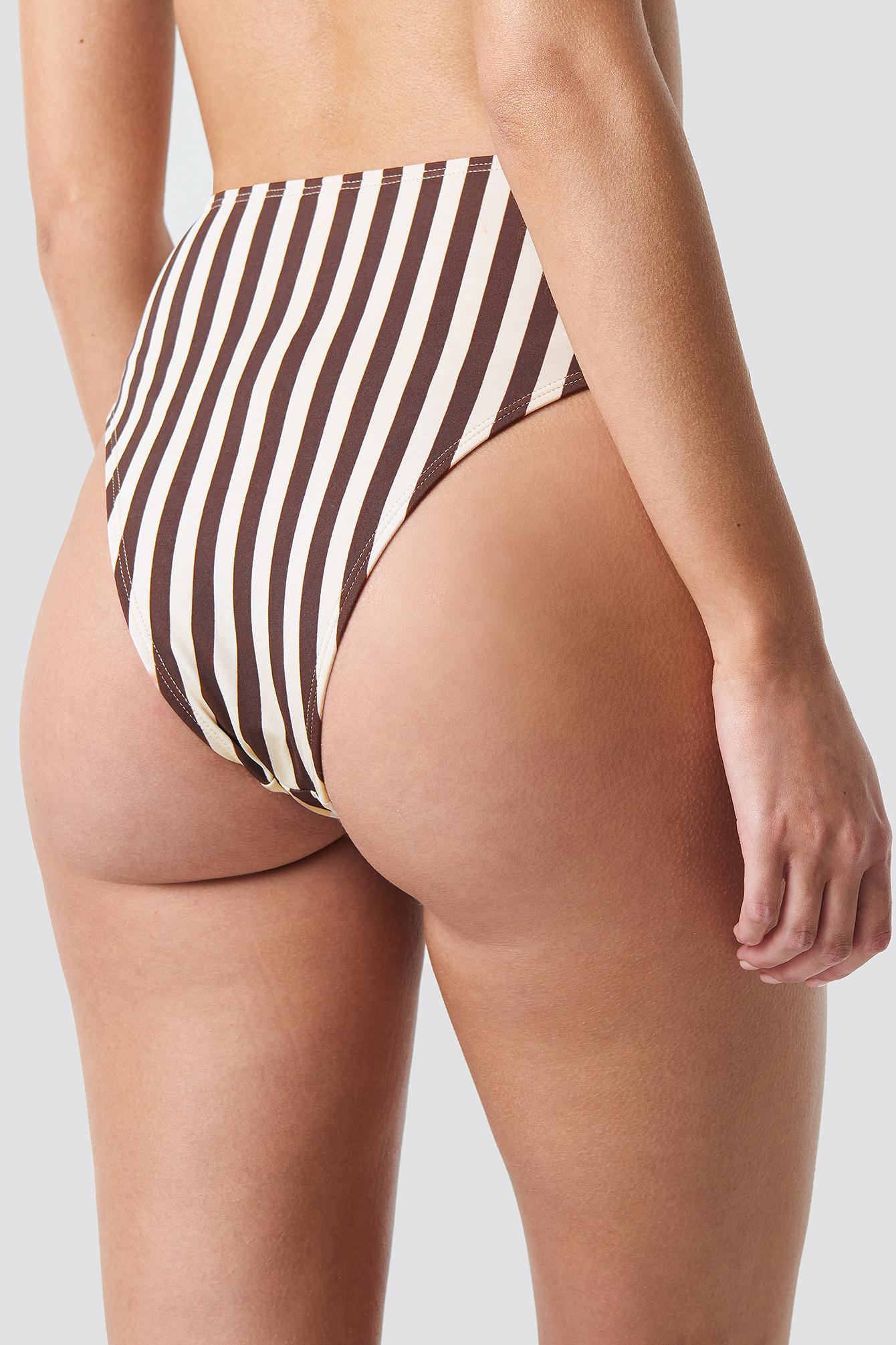 Striped High Waist Bikini Bottom NA-KD.COM