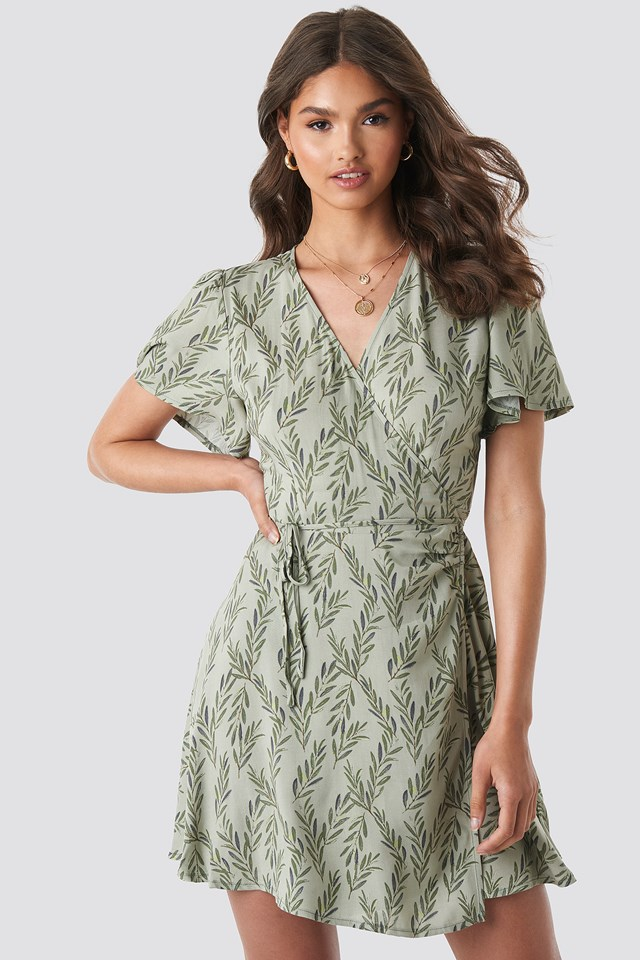 Wrap Mini Dress Green