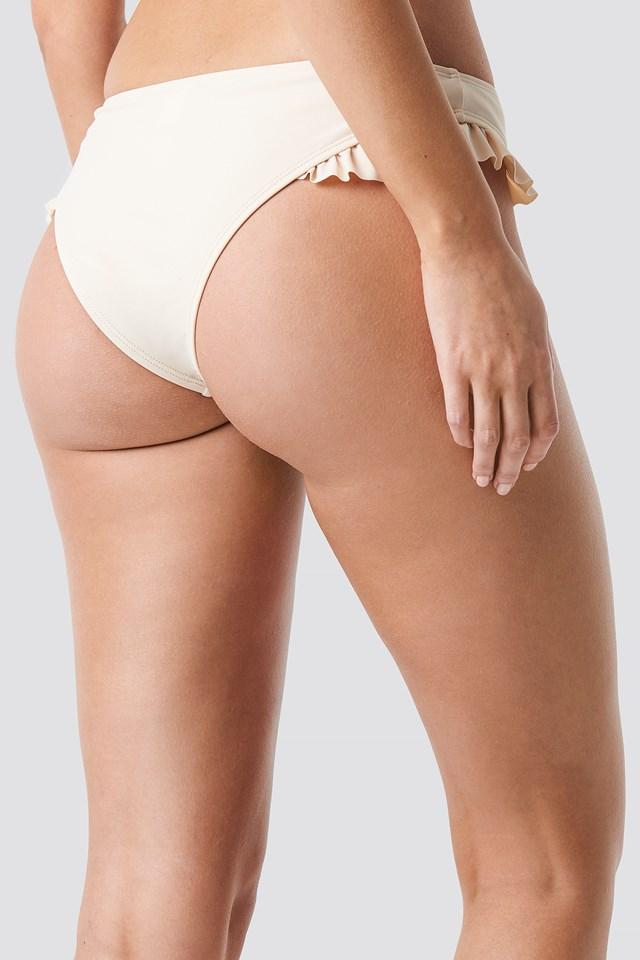 Frilled Bikini Bottom Cream