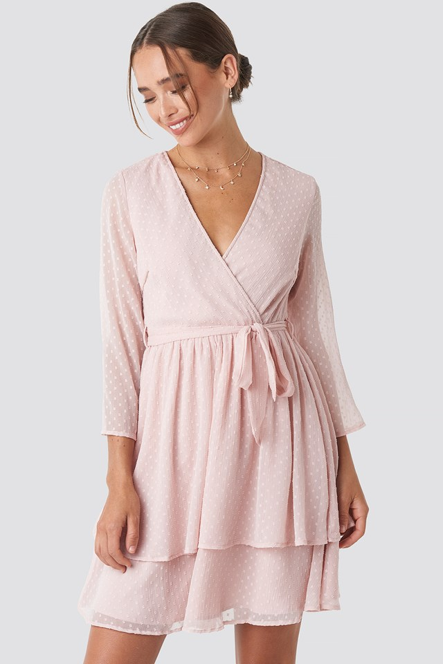 Belted Wrap Mini Dress Pink