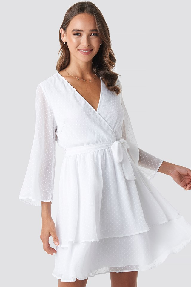 Belted Wrap Mini Dress White