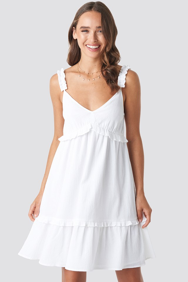 Frilled Mini Dress White