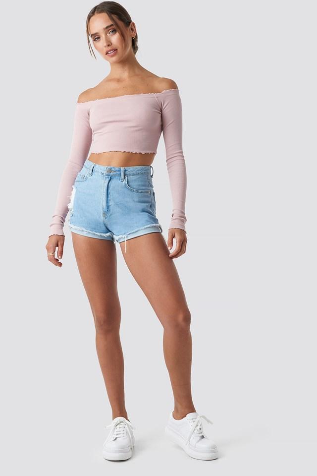 Long Sleeve Crop Top Pink