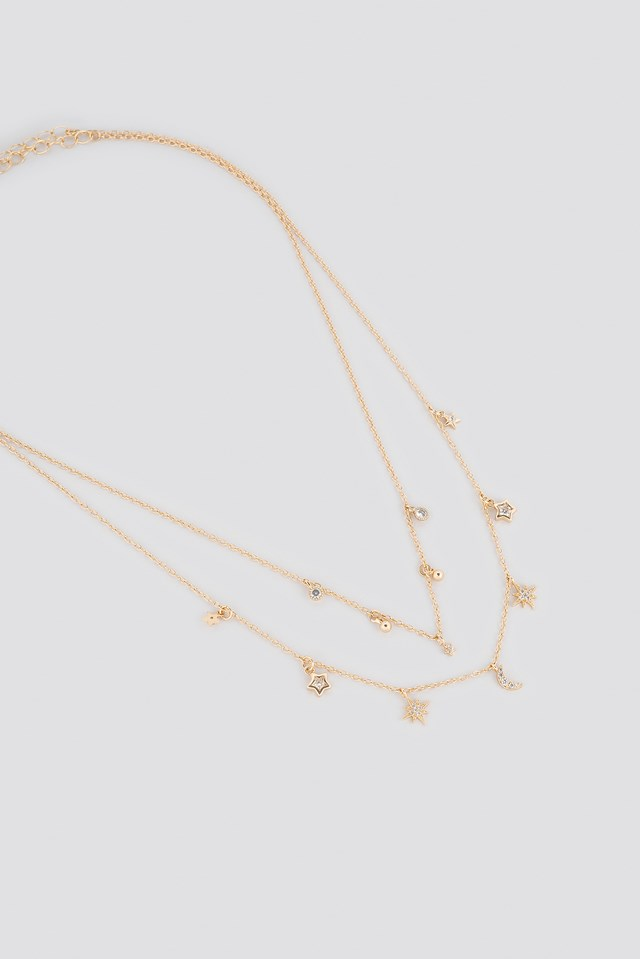 Multi Pendant Double Necklace Gold
