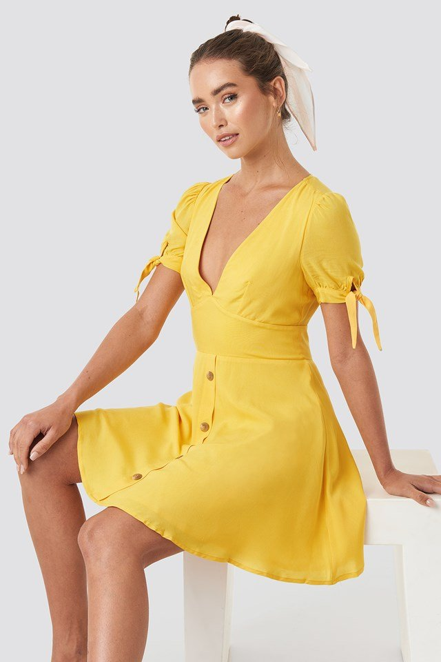 Button detail mini dress Yellow
