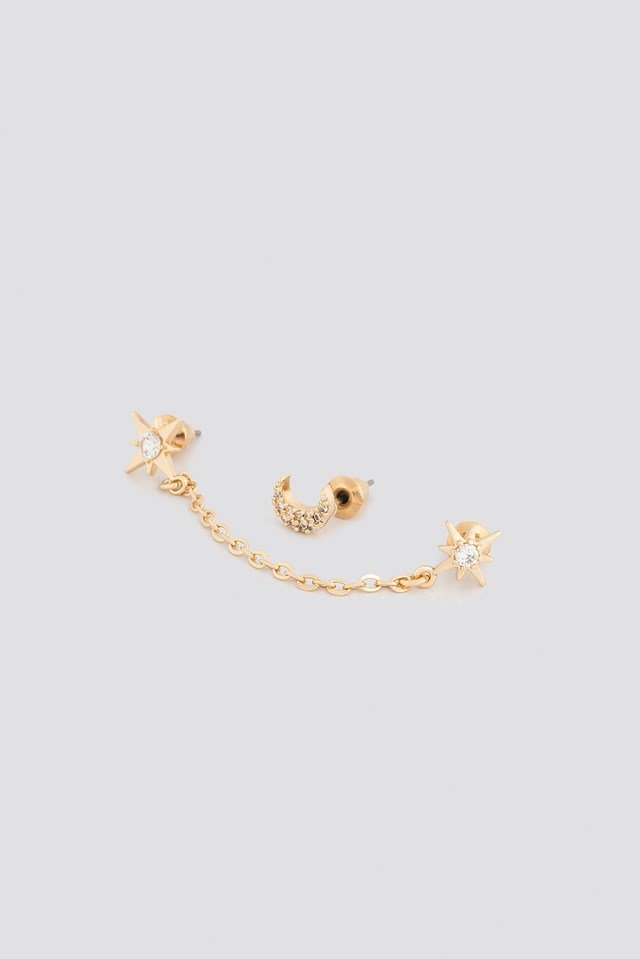 Chain Star With Moon Set- 2 pack Gold