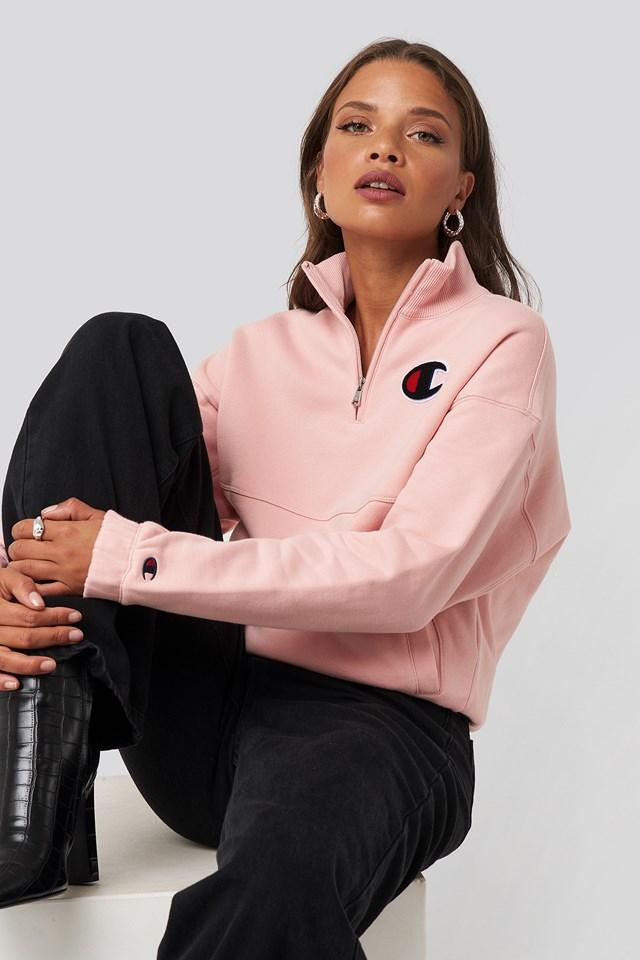 Half Zip Sweatshirt Silver Pink