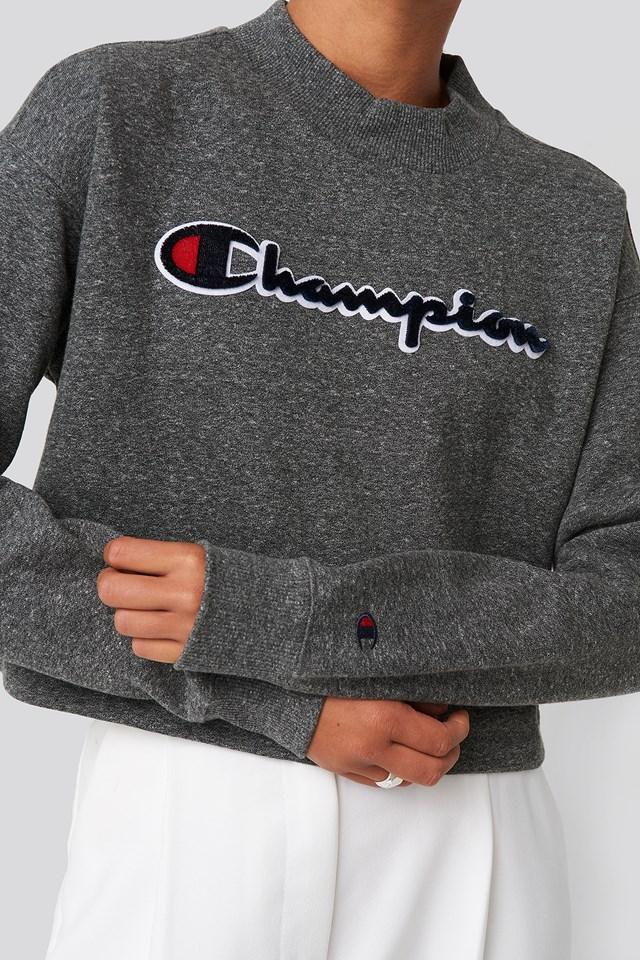 High Neck Sweatshirt Dark Grey Melange