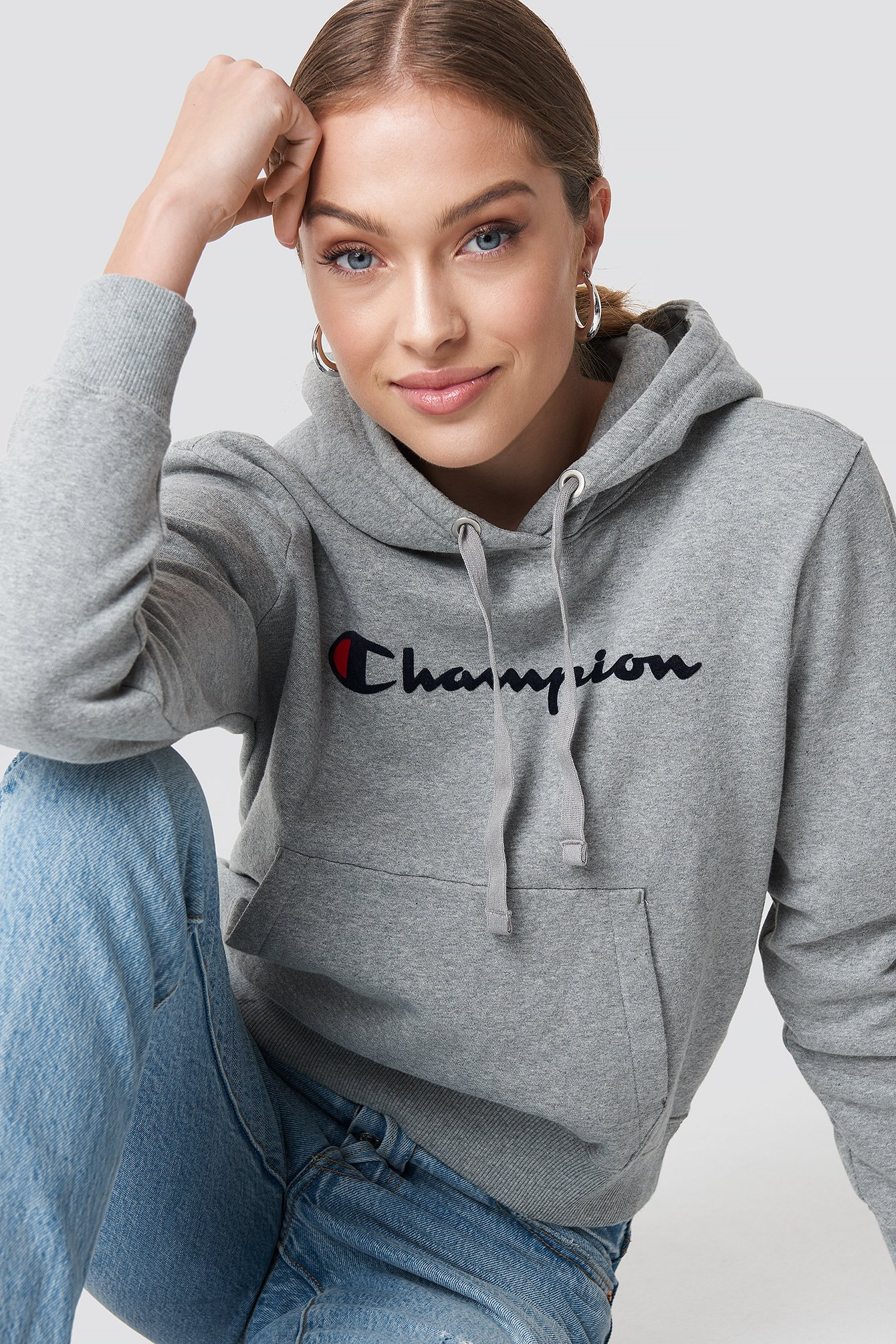 champion -  Hooded Sweatshirt - Grey