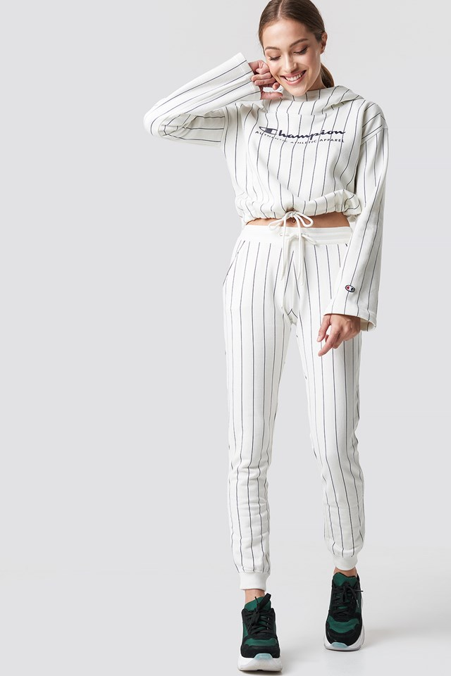 Rib Cuff Pants Grey Striped