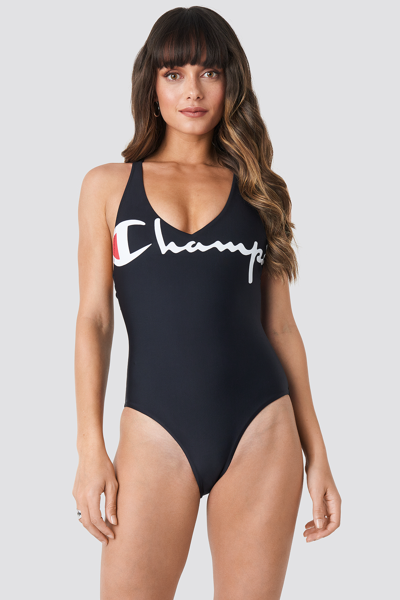 V-neck Logo Swimsuit NA-KD.COM