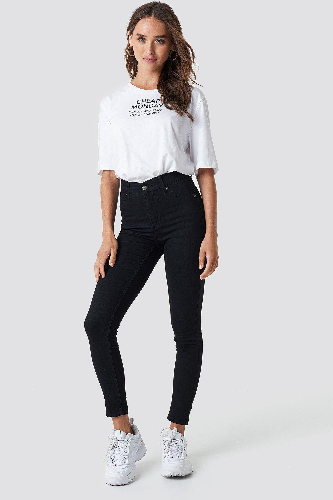 600660a20f34 High Spray Black Jeans Black | na-kd.com