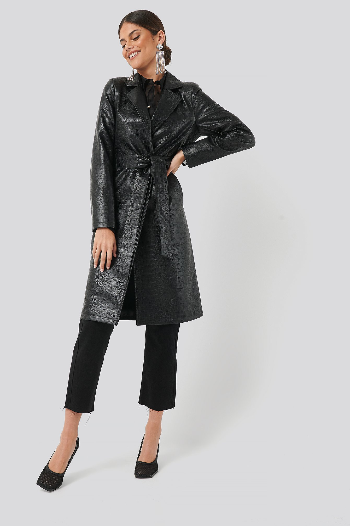 chloé b x na-kd -  Croc Long Jacket - Black