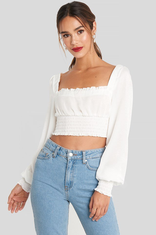Cropped Ruffle Top White
