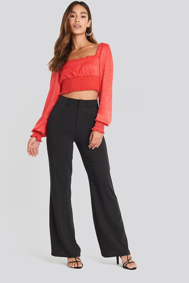 Cropped Ruffle Top Red