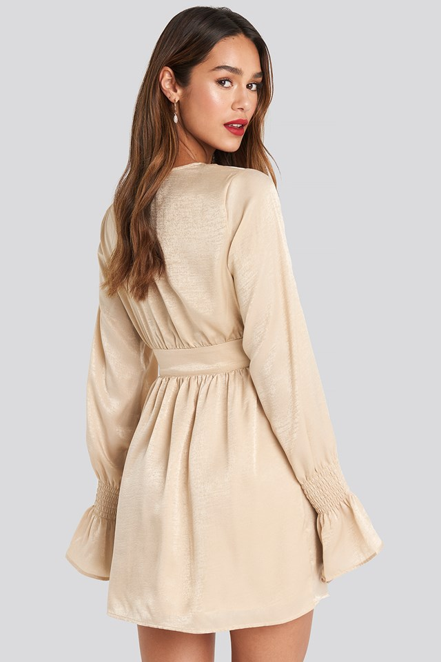 Deep Front Mini Dress Beige