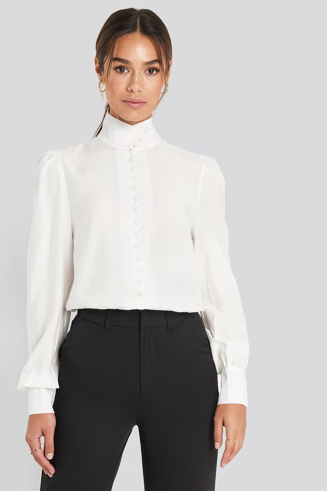 High Neck Button Blouse White