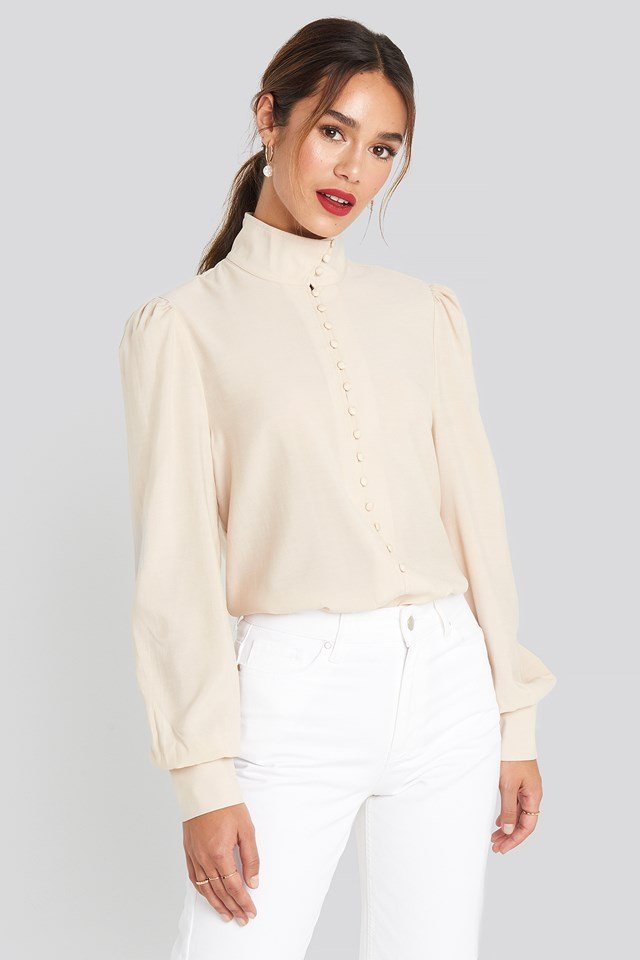 High Neck Button Blouse Beige