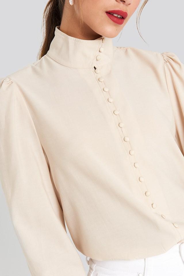 High Neck Button Blouse Beige