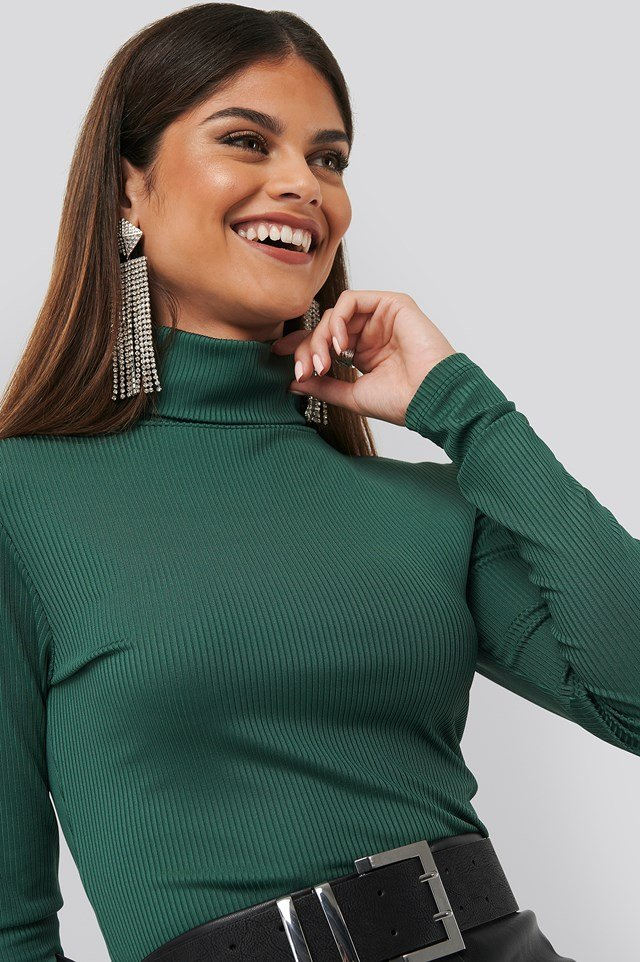 High Neck Ribbed Top Emerald Green