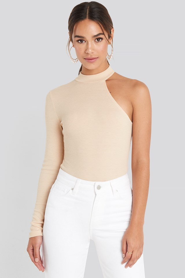 One Sleeve Jersey Top Beige