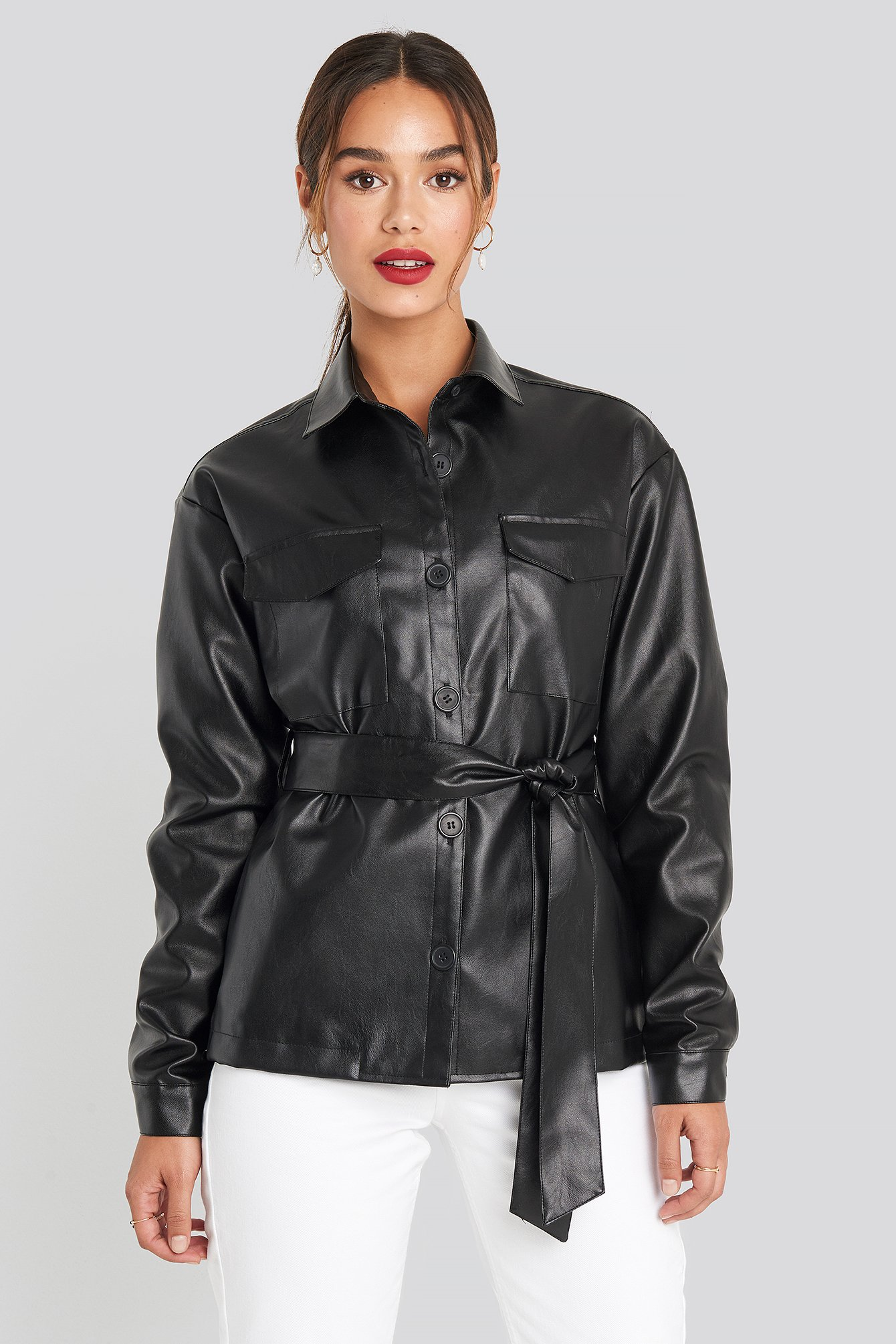 chloé b x na-kd -  PU Belted Jacket - Black