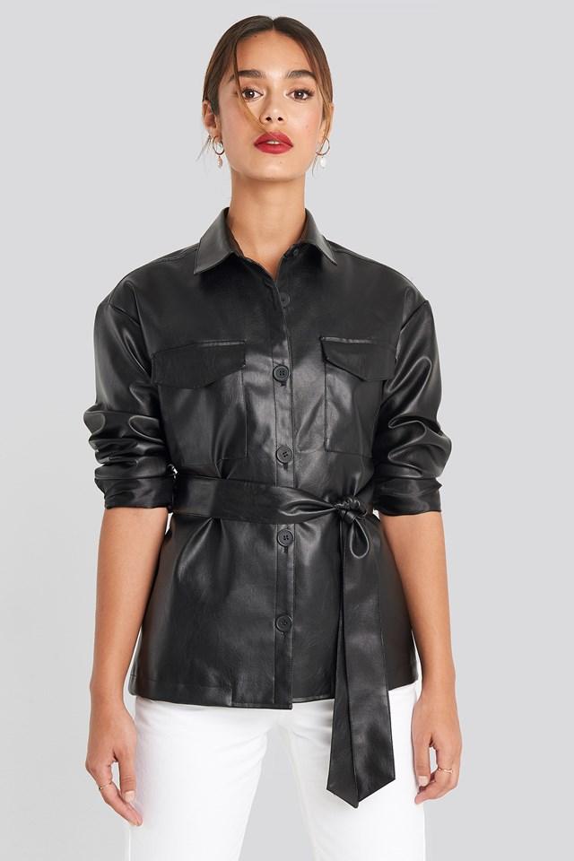 PU Belted Jacket Black