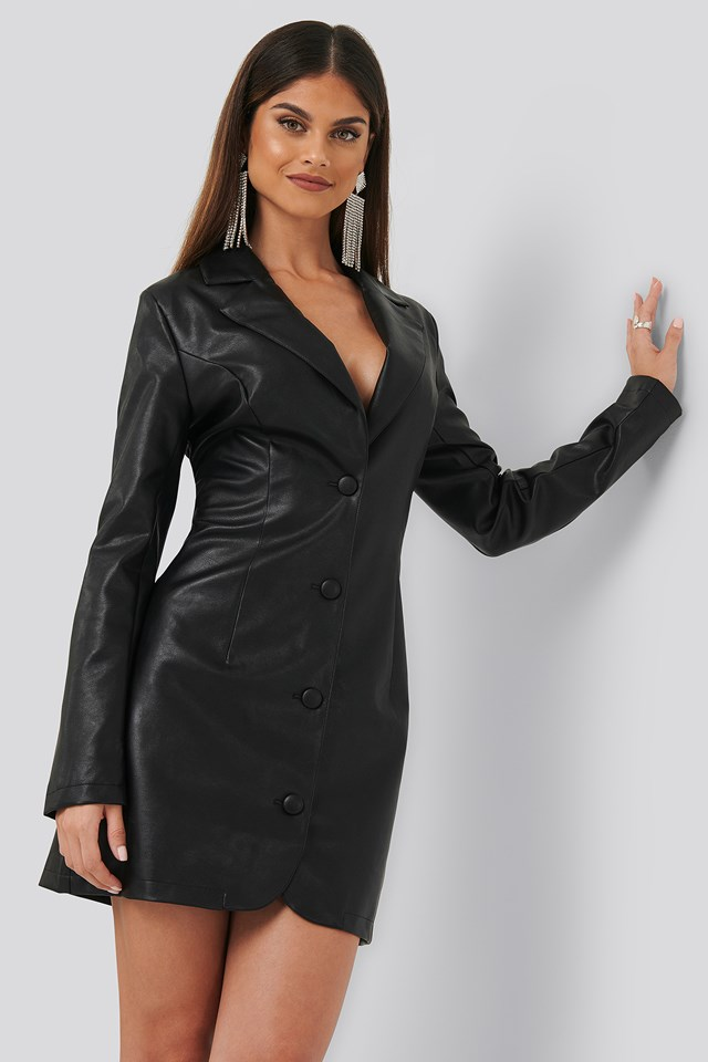 PU Blazer Dress Black