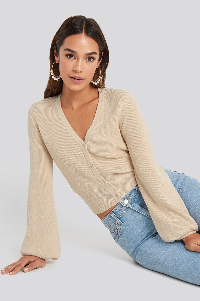 Rib Detail Cardigan Light Beige
