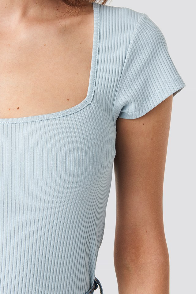 Ribbed Squared Top Light Blue