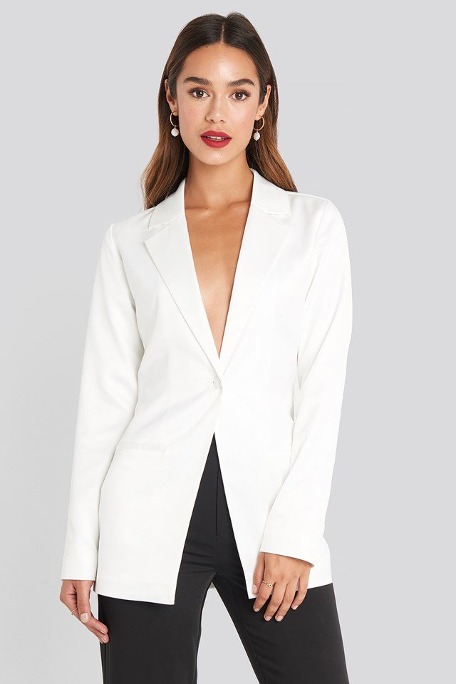 Shiny Fitted Blazer White