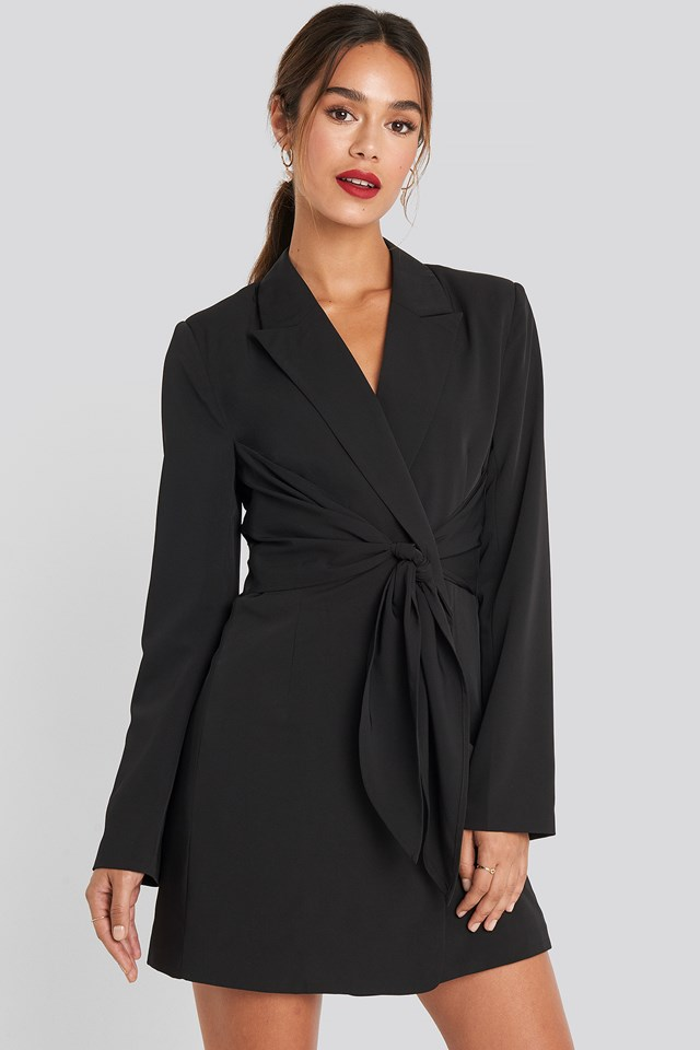 Tie Short Blazer Dress Black