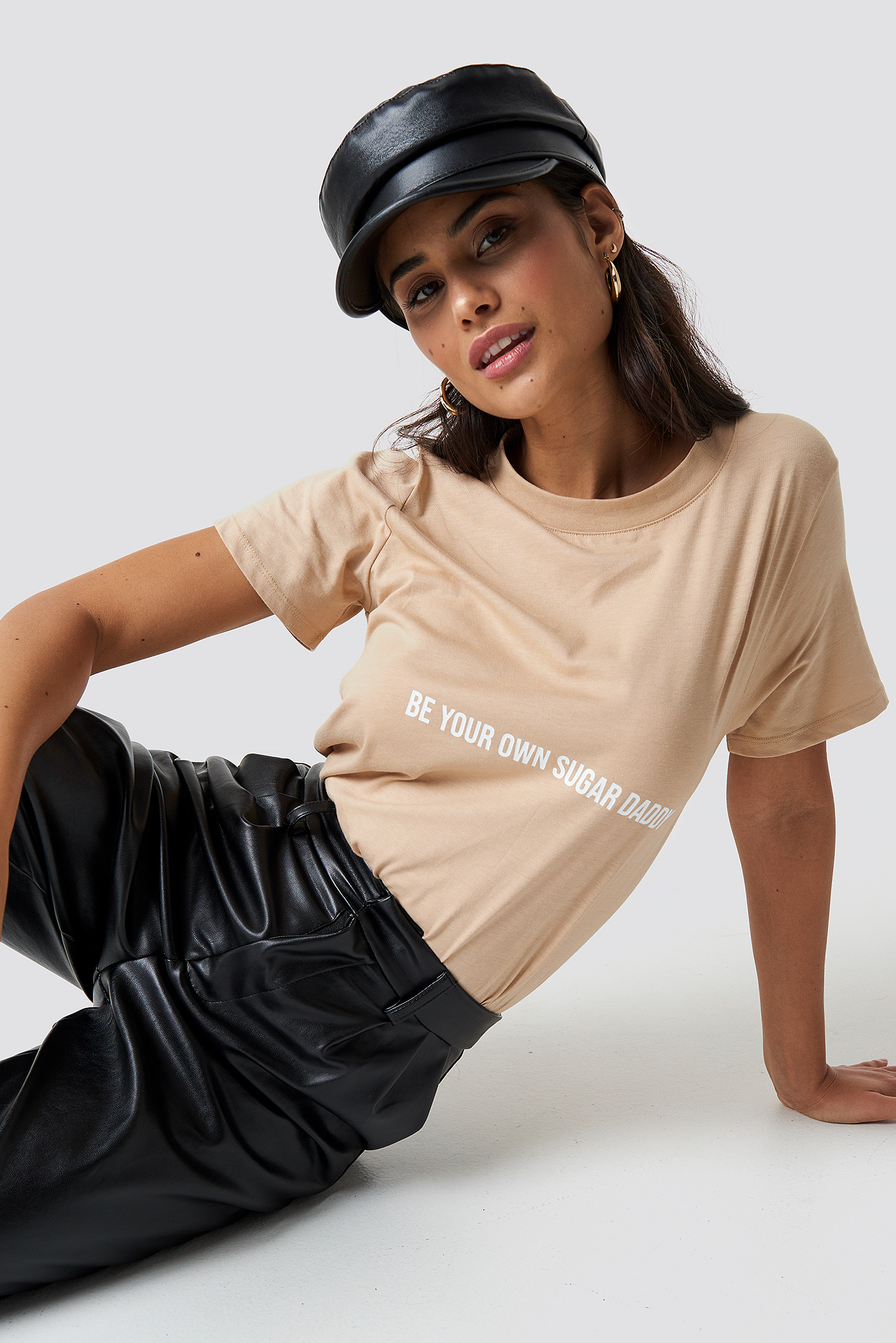 CHLOEXNAKD Be Your Own Sugar Daddy Tee - Beige