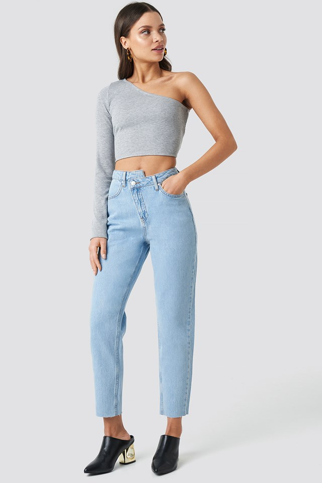 Cropped Denim Pants Light Blue