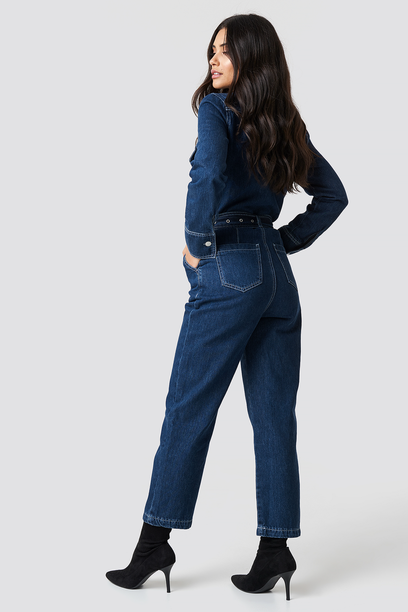Denim Belted Jumpsuit NA-KD.COM