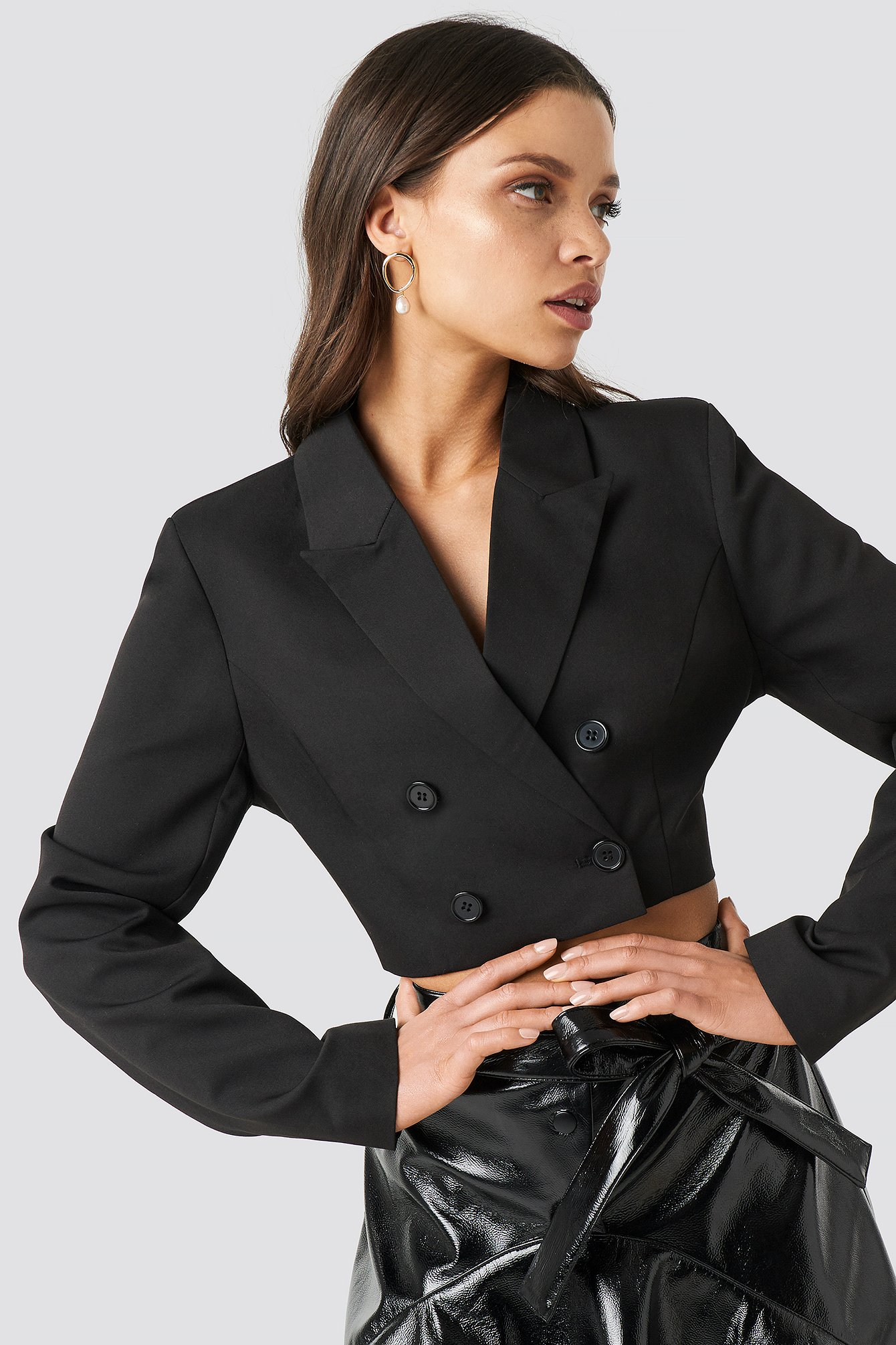 chloé b x na-kd -  Double Breasted Cropped Blazer - Black