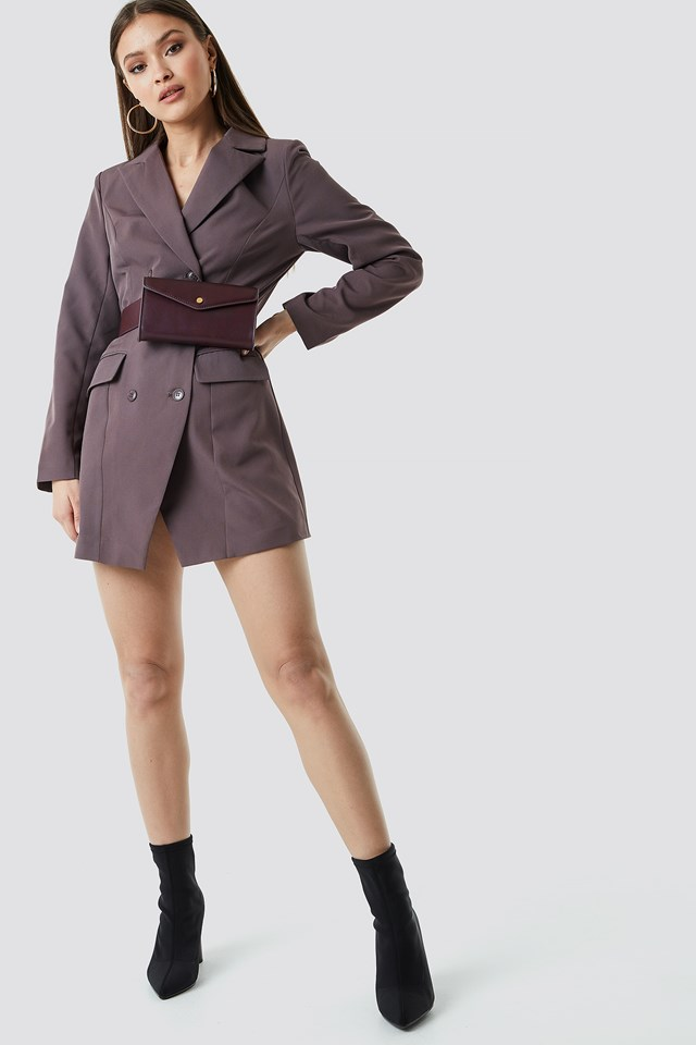 Double Breasted Short Blazer Dress Brown
