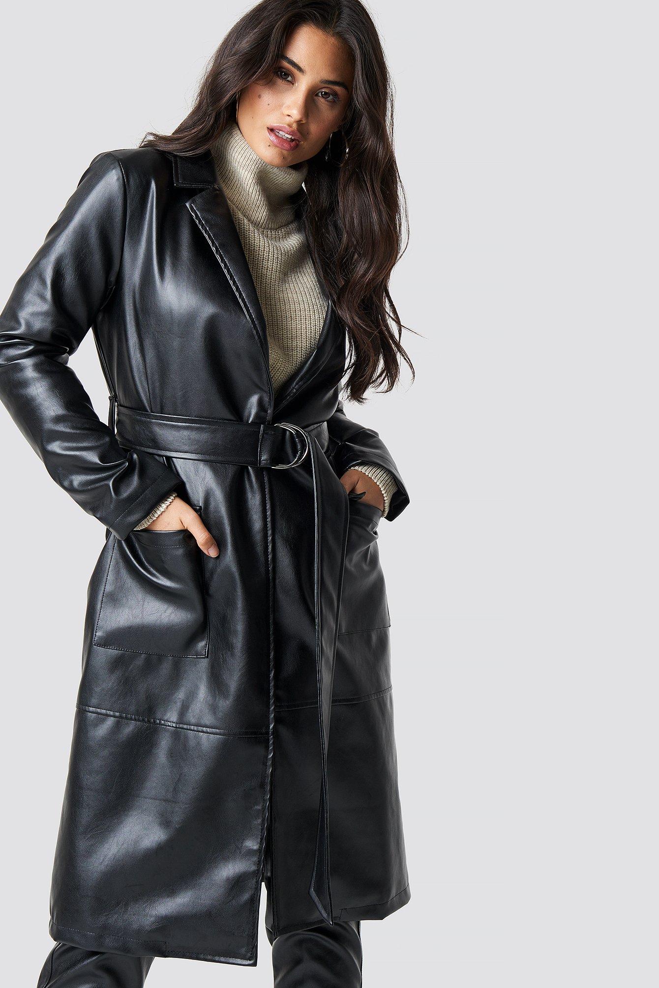 CHLOEXNAKD Faux Leather Coat - Black