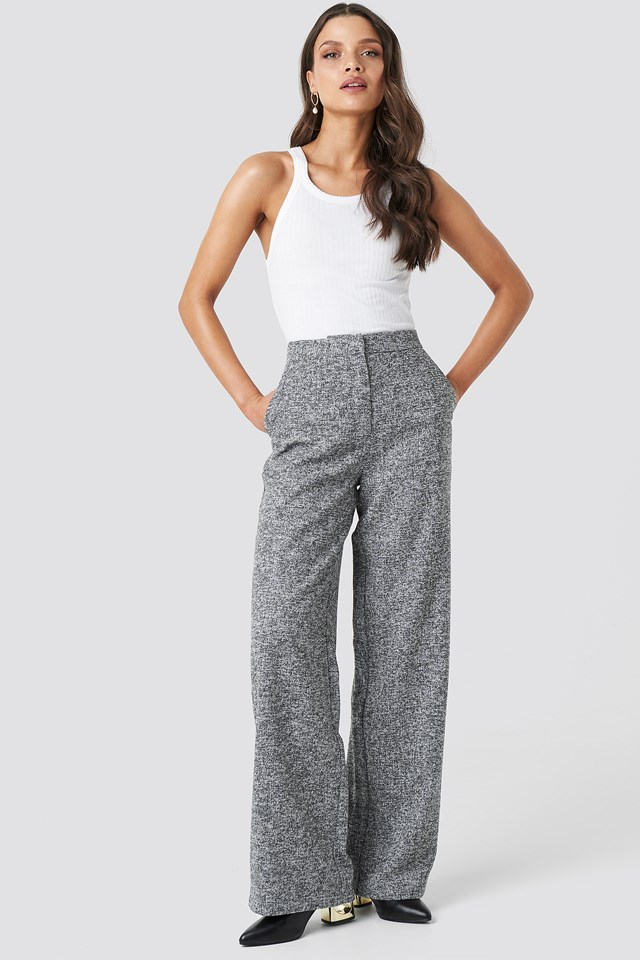 Flared Suit Pants Grey Melange