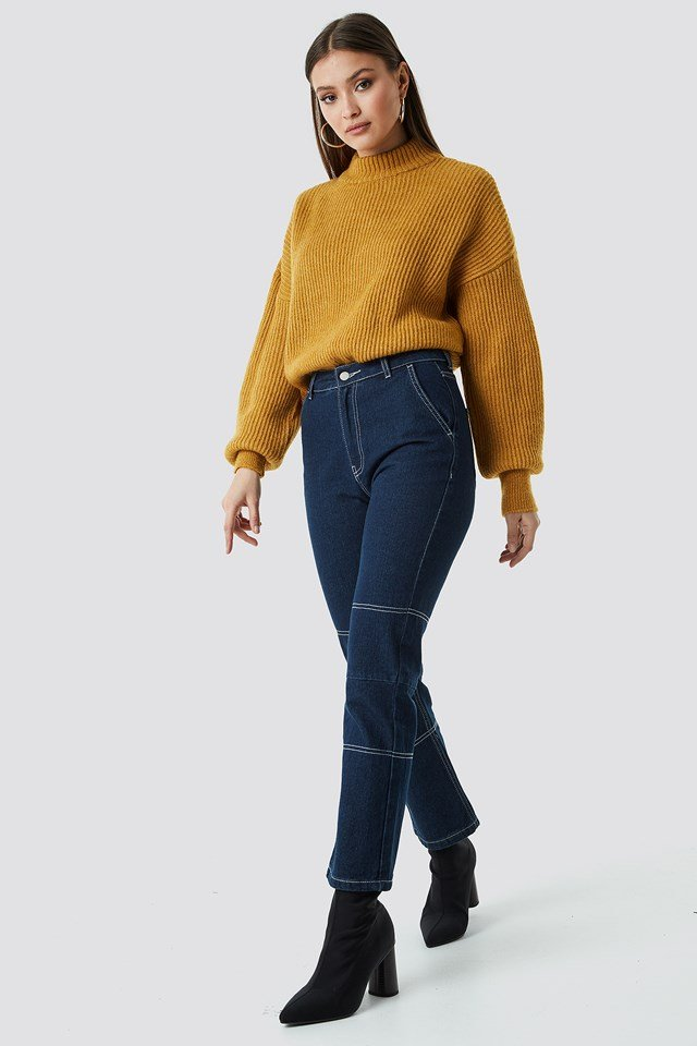 High Neck Knitted Sweater Yellow