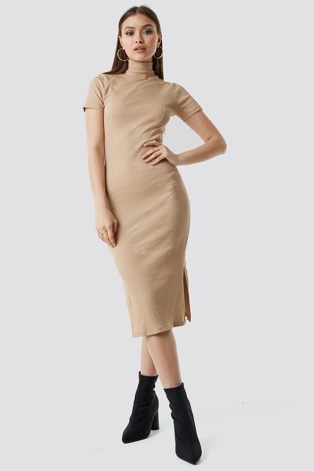 Jersey Rib Midi Dress Beige