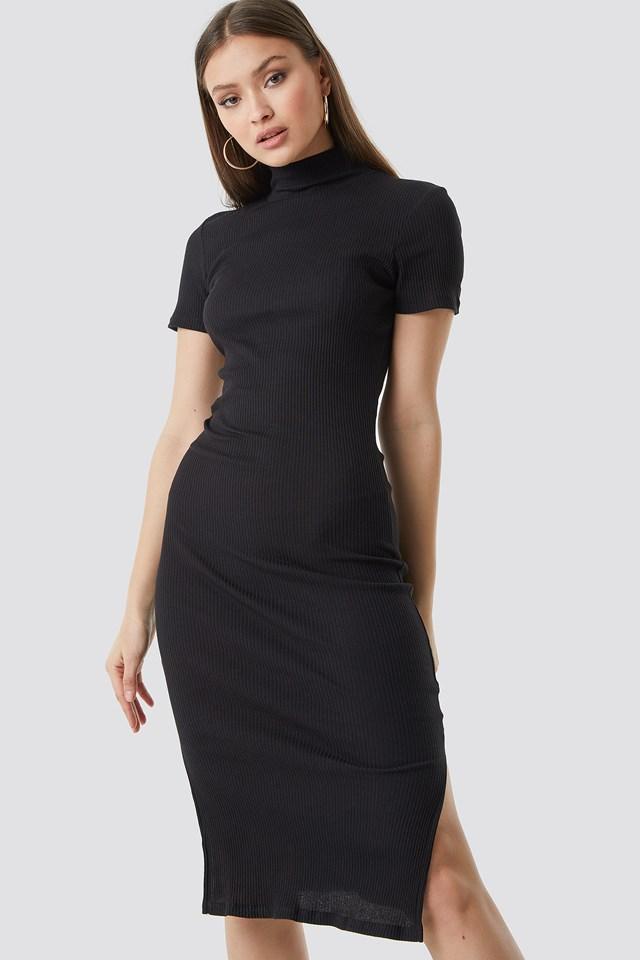 Jersey Rib Midi Dress Black
