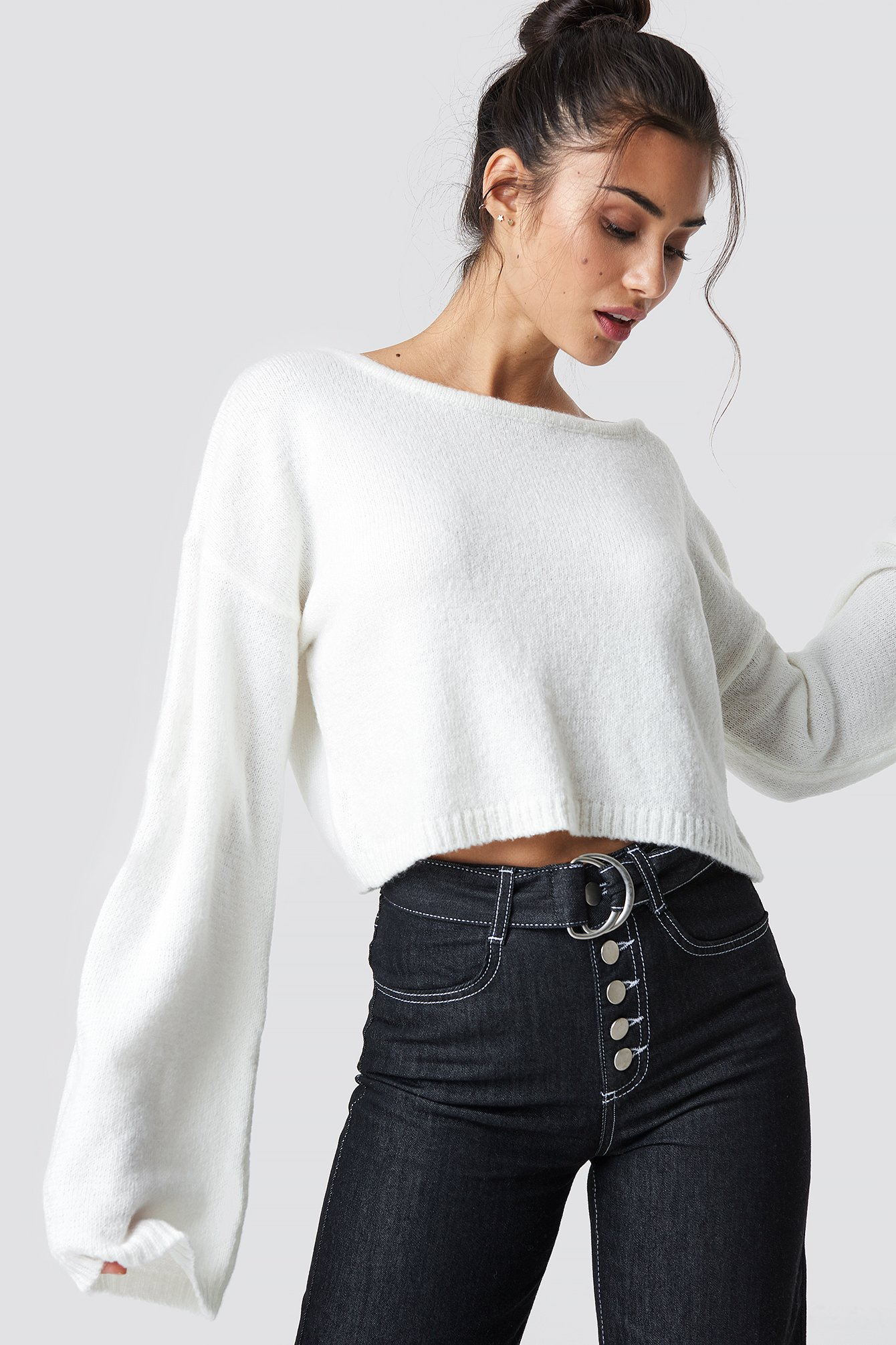 CHLOEXNAKD Knitted Boatneck Sweater - White