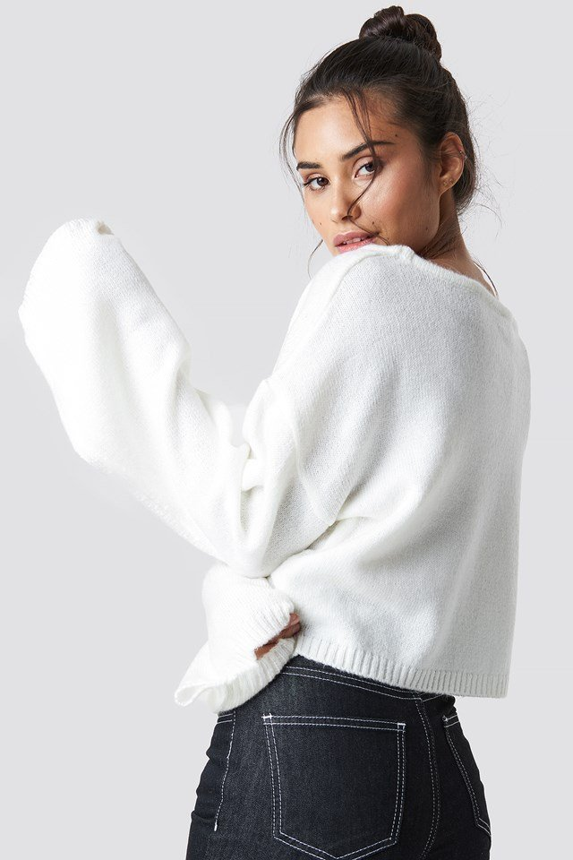 Knitted Boatneck Sweater White