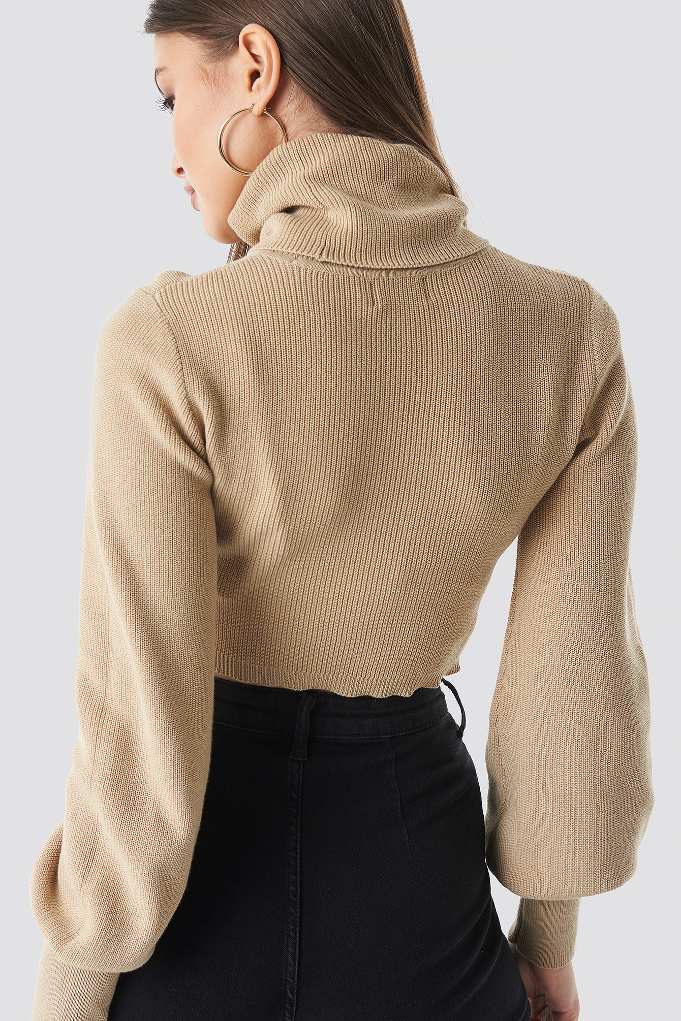 Knitted Cropped Polo Sweater NA-KD.COM
