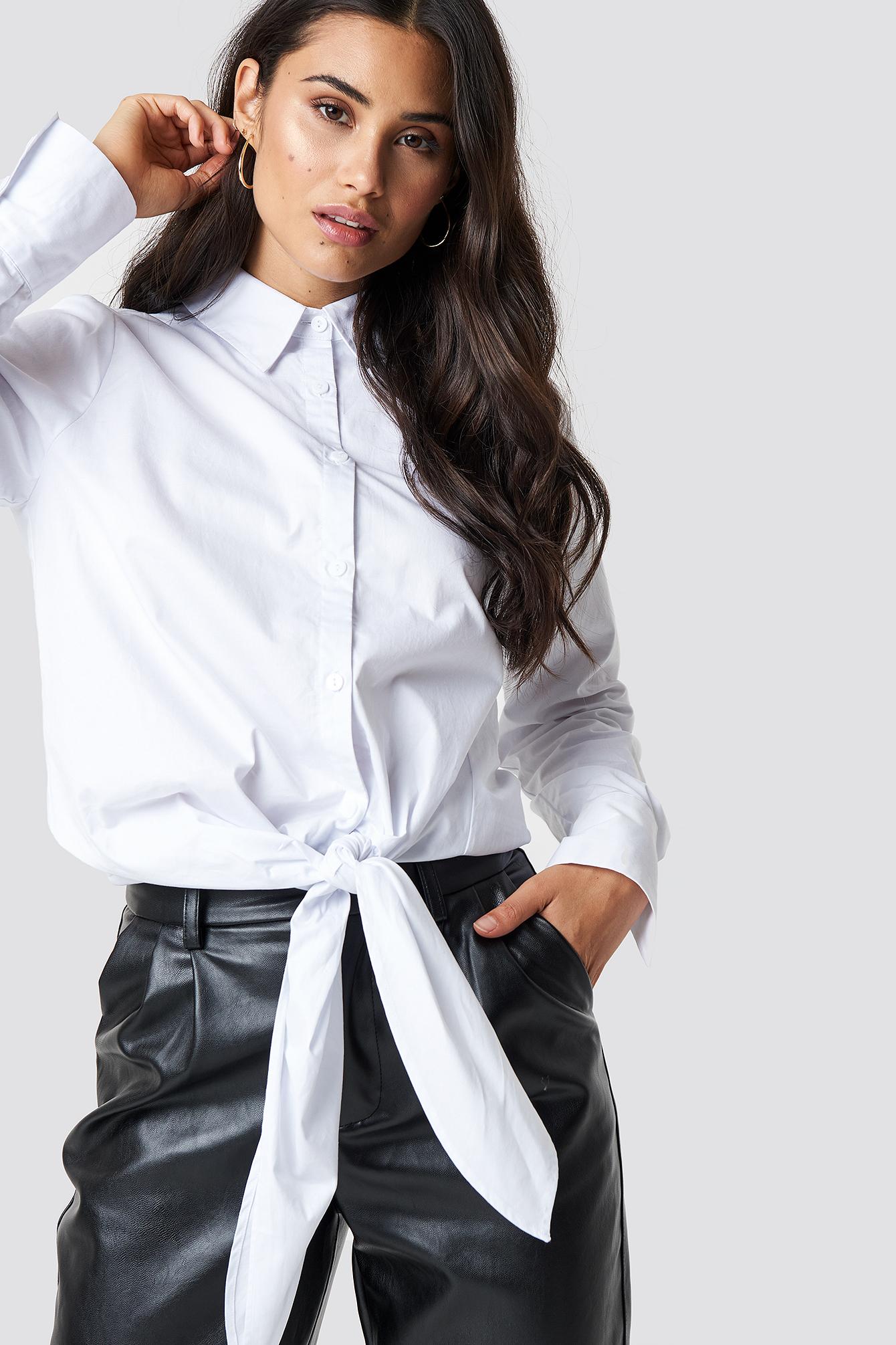 CHLOEXNAKD Oversized Knot Shirt - White