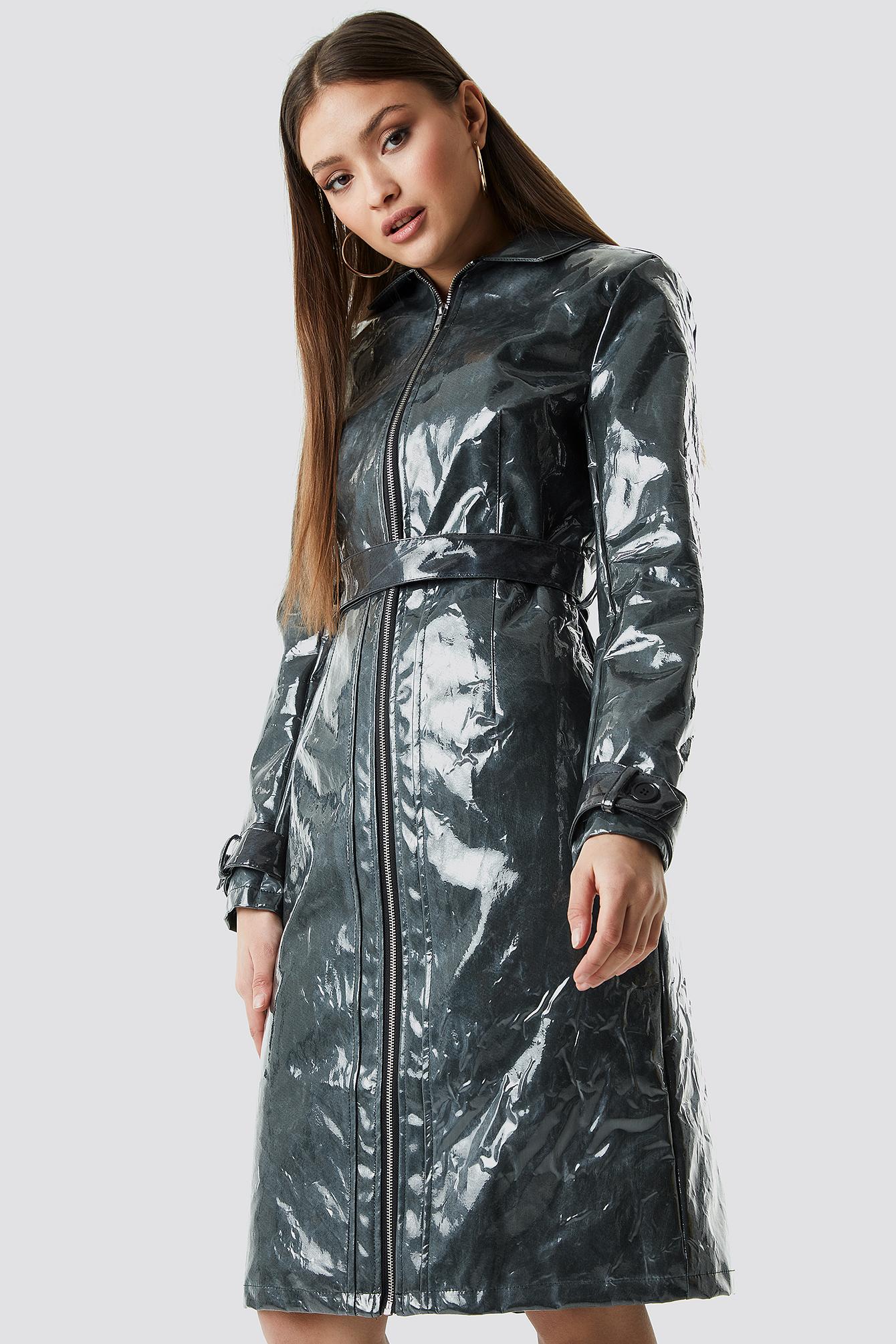 chloé b x na-kd -  Patent Long Jacket - Green
